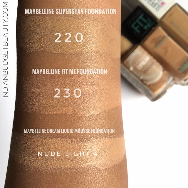 Maybelline superstay Full Coverage Foundation swatches