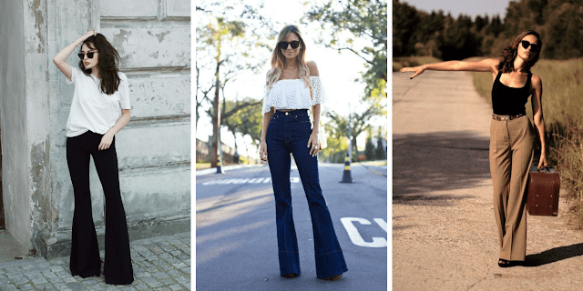 outfit ideas for flared bell bottoms