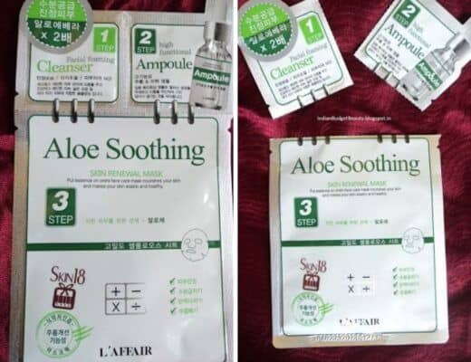 L'affair Aloe Soothing 3 Step Skin Renewal Mask Review
