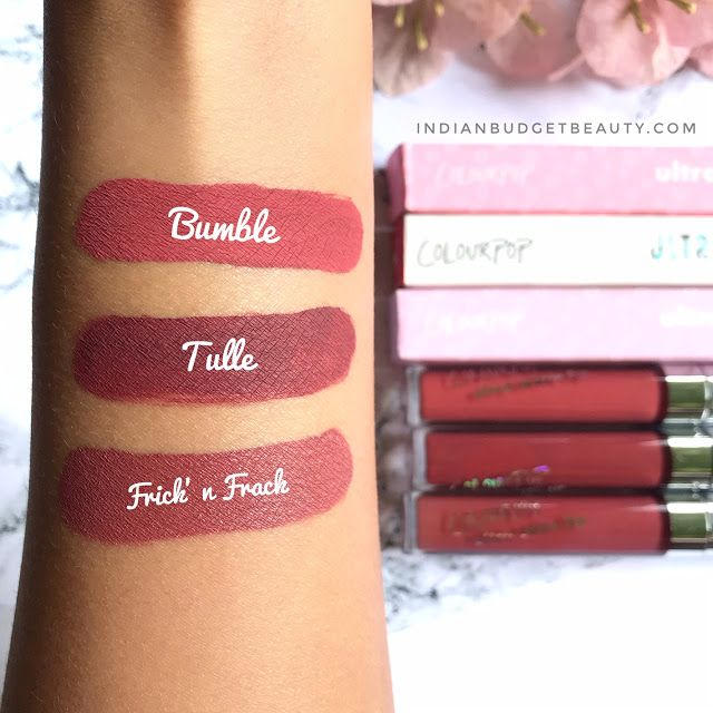 colourpop bumble, tulle, frick n frack swatches