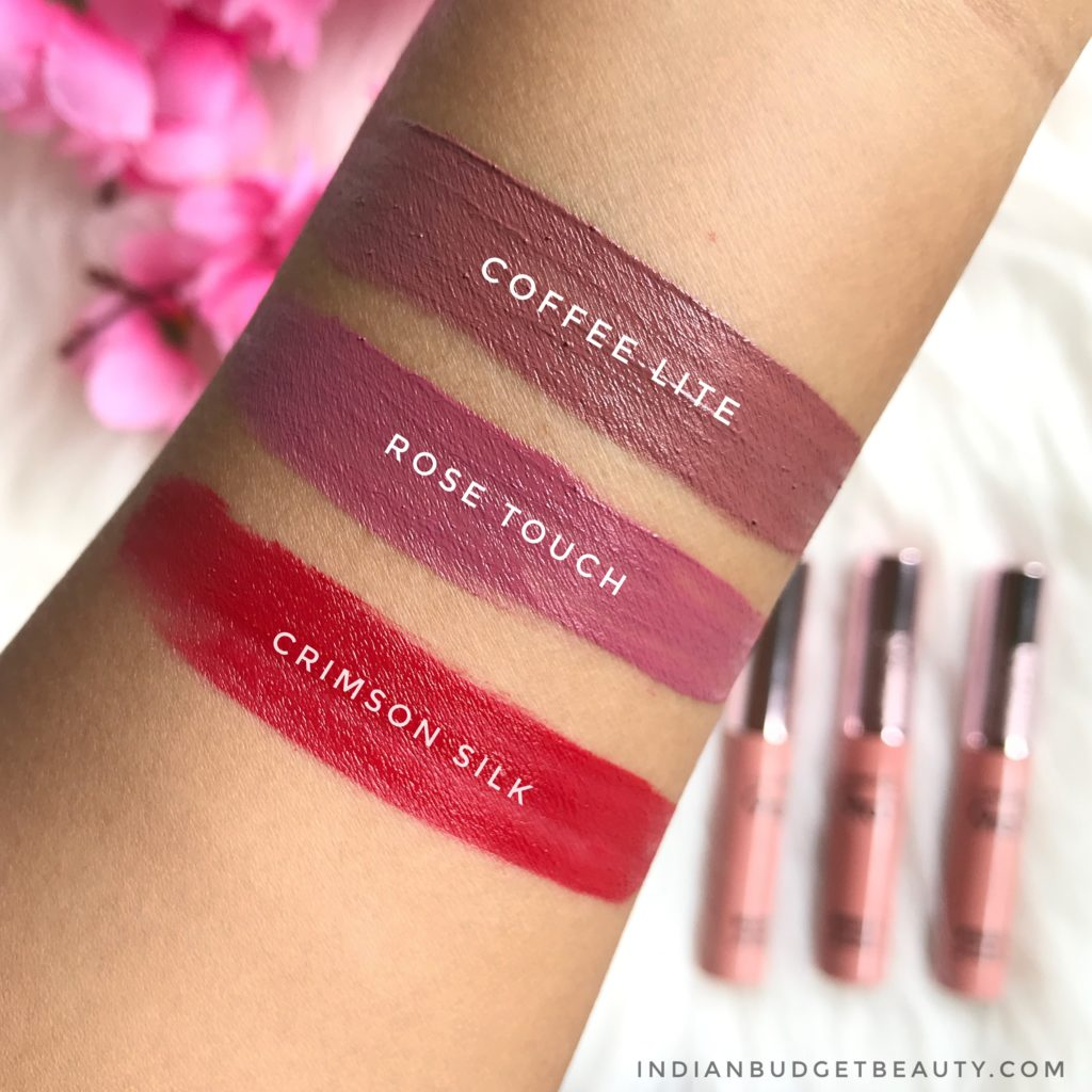 lakme 9to5 weightless matte mousse lip & cheek color swatches