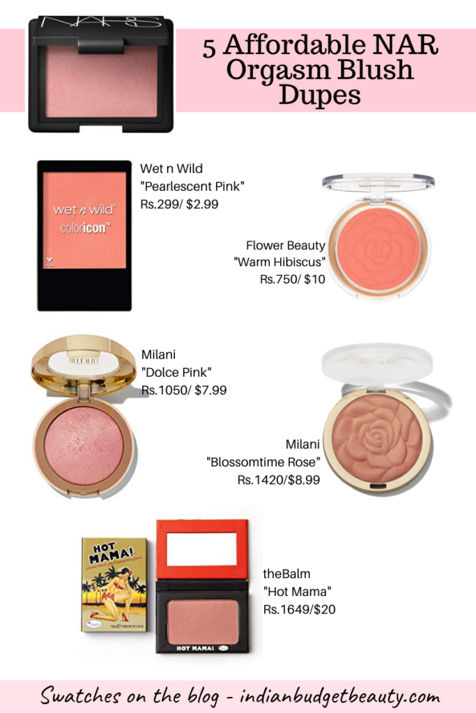 5 Affordable NARS Orgasm Blush Dupes | With Swatches