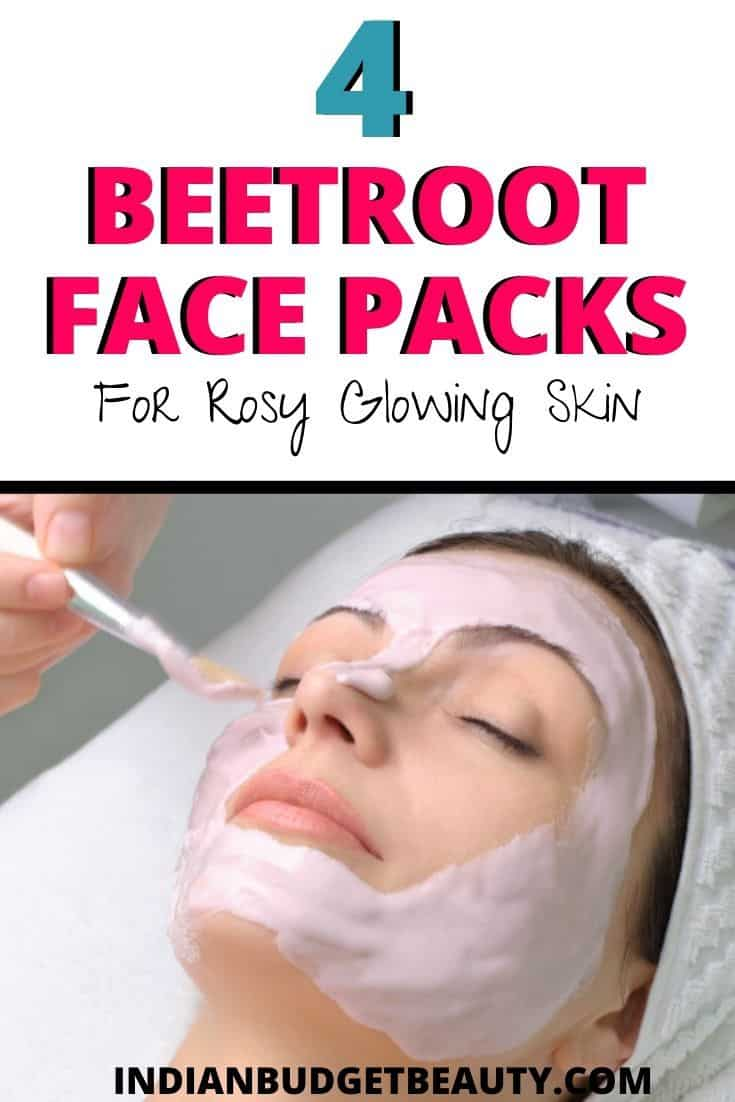 4 Easy Beetroot Face Packs for Rosy Glowing Skin. There's a DIY beetroot face mask for glowing skin, detanning face mask, and two rosy cheeks face mask diy