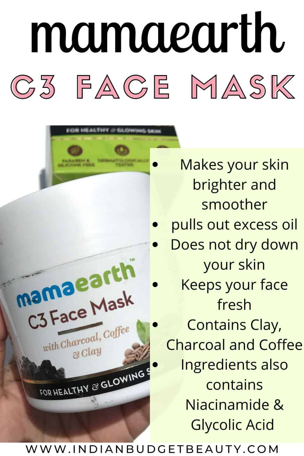 mamaearth c3 face mask review