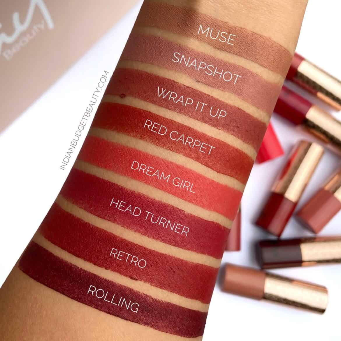 kay beauty matte drama lipstick swatches