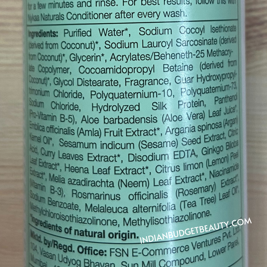 Nykaa Naturals Amla and Curry Leaves Shampoo Ingredients